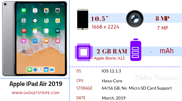 Apple iPad air 2019 specifications