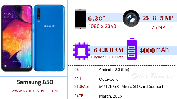 Samsung Galaxy A50 Full Specifications, Features & Price - GadgetStripe